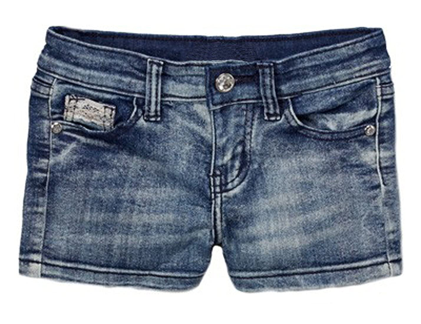 Pout N' Sprout Girls Denim Shorts with Laced Pocket Trim 4-14 yrs