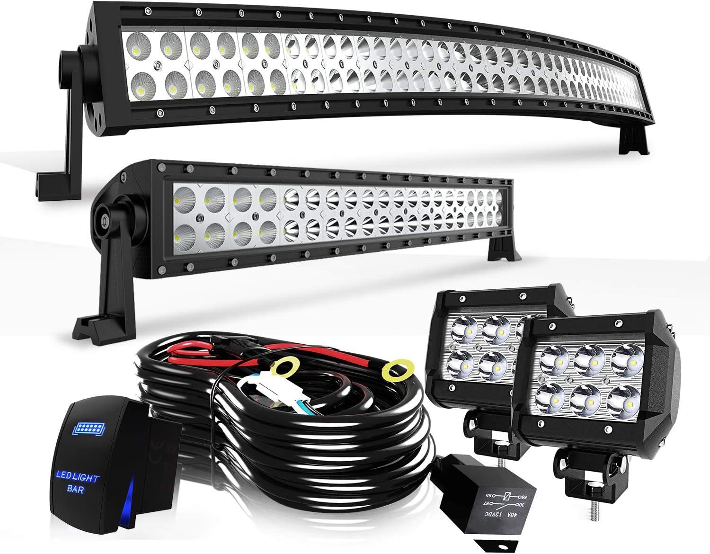 "For Honda Pioneer 1000 50/"" Curved Led Light Bar+20//22/""+4/"" 18W pods Combo Kit"