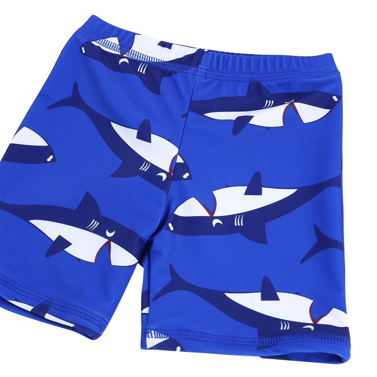 FEESHOW Kids Boys Shark Printed Rash Guard Swimsuit Bathing Suit Long Sleeve Top Shirt with Trunks Swimwear Swimming Cap Set
