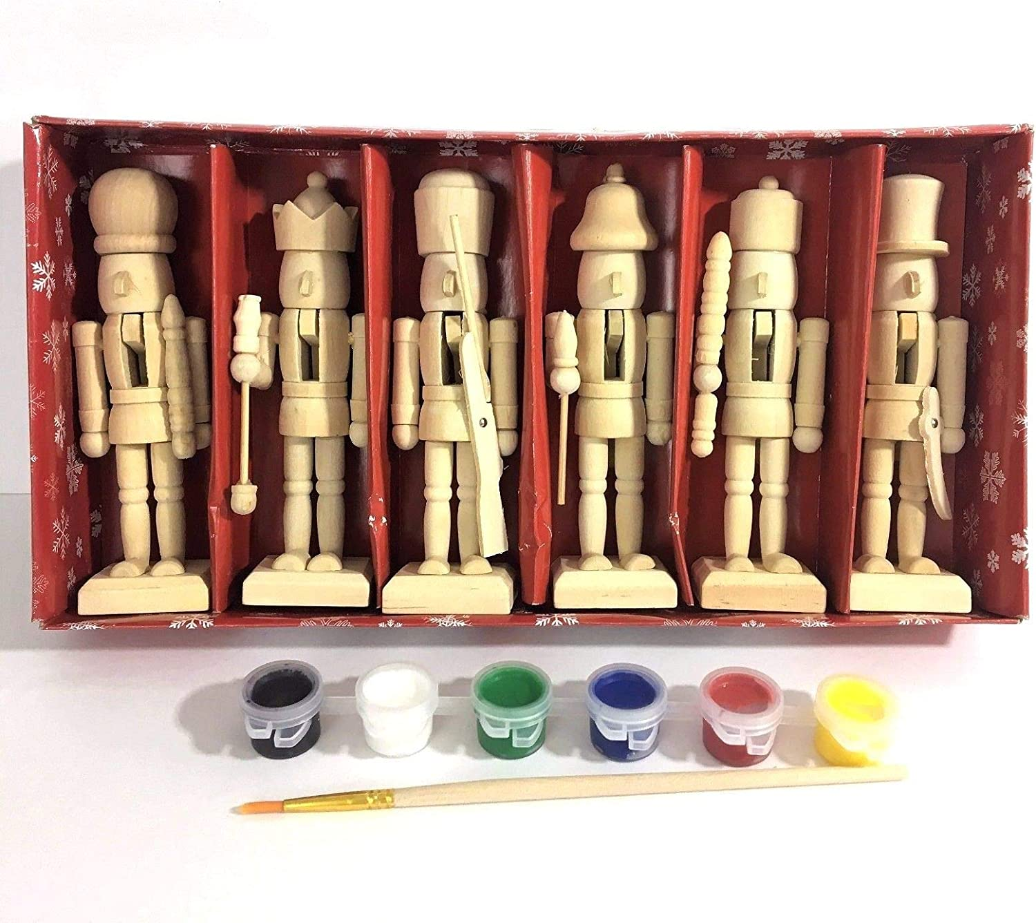 """Paint Your Own 5"""" Mini Wooden Nutcrackers Christmas Craft Kit Box Set of 6 DIY"""