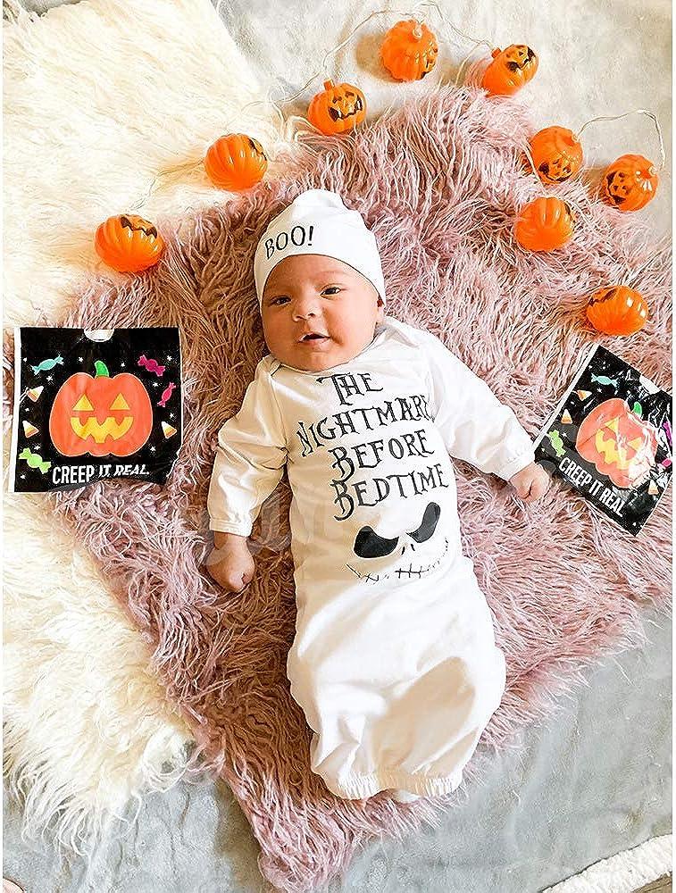 Dramiposs Newborn Halloween Gown Sleepwear Baby Boys Girls The Nightmare Before Bedtime Sleeper (white,0-3 Months): Clothing