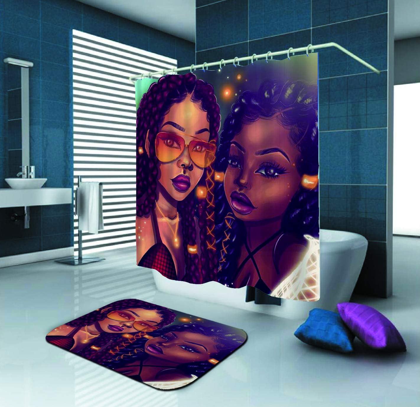 Makeup African girl Shower Curtain Sets Bathroom Waterproof Fabric /& 12 Hooks