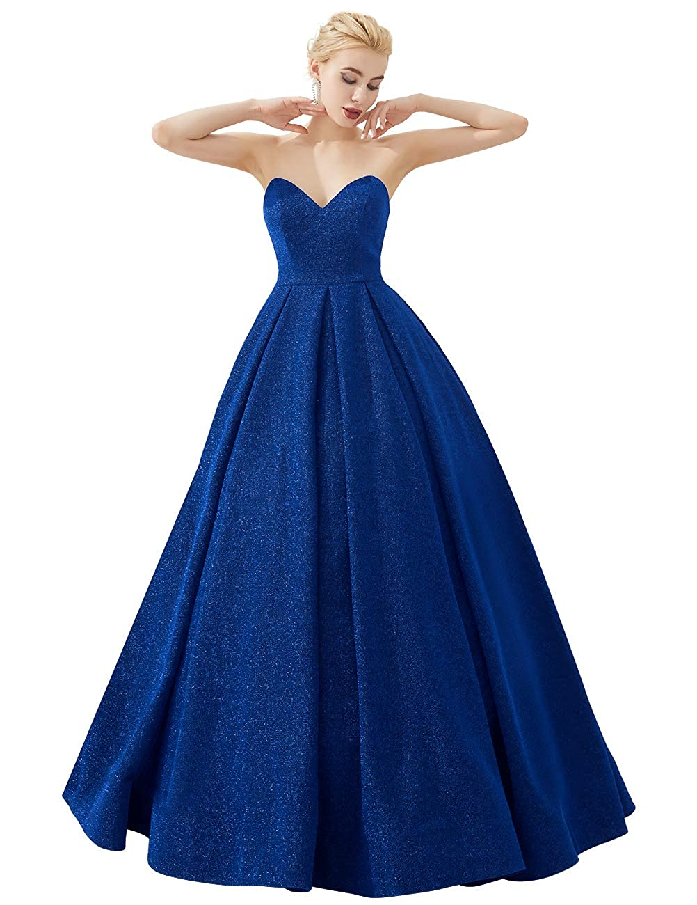 Royal bluee VKBRIDAL Women's Glittery Prom Dresses Long Formal Evening Party Ball Gowns