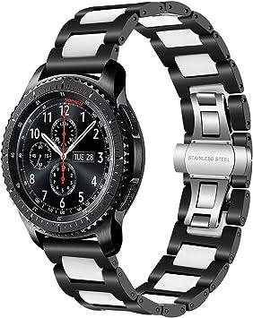 Gear S3 Frontier/Classic Watch Correa, TRUMiRR 22mm correa de reloj de acero inoxidable y cerámica correa de liberación rápida para Samsung Gear S3 Frontier, Moto 360 2 46 mm,Asus ZenWatch 1 2