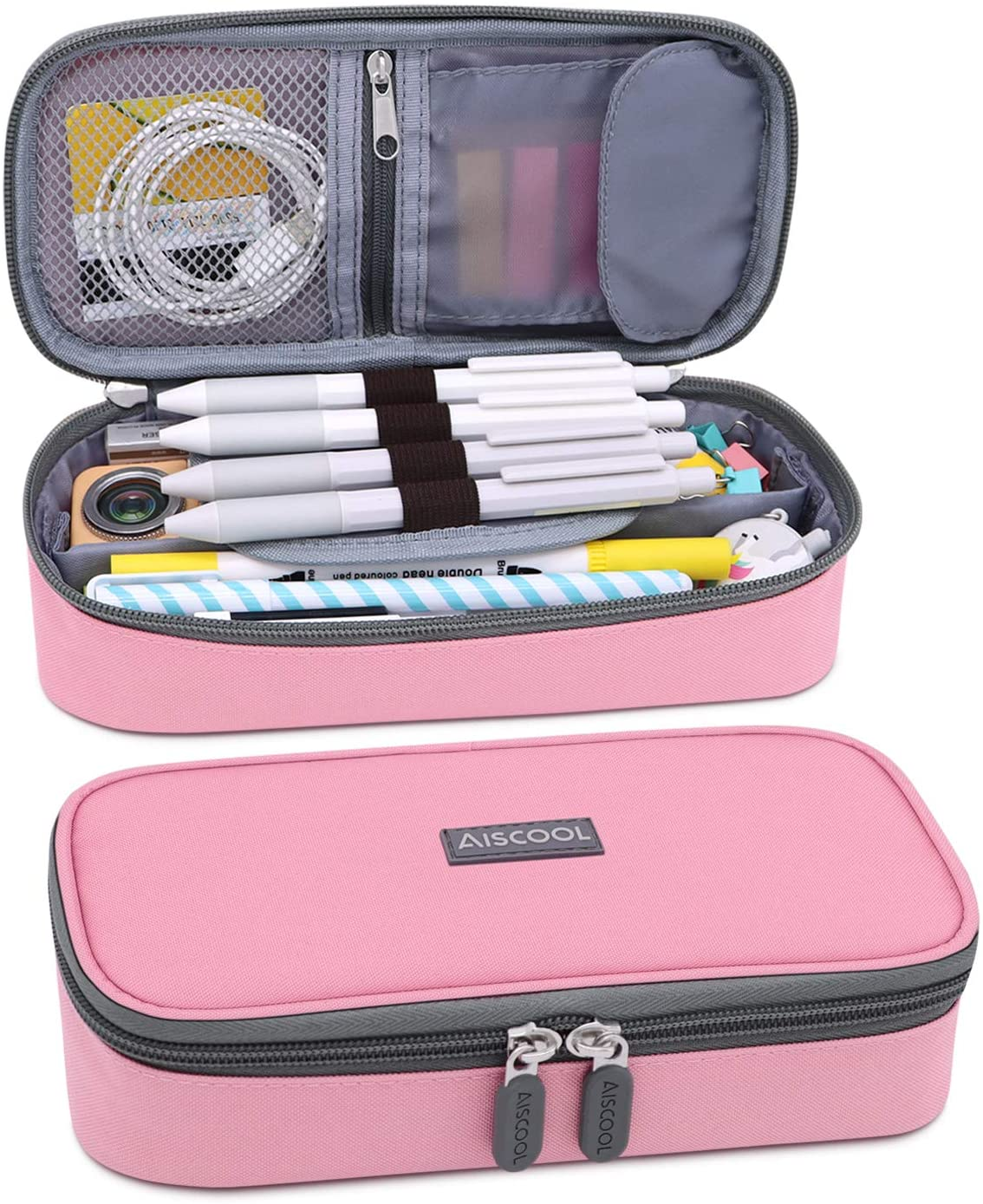 Aiscool Big Capacity Pencil Case Holder Canvas Bag Pen Organizer Pouch Stationery Box for School Supplies Office Stuff (Pink)