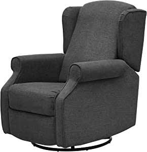 YANXUAN Pushback Recliner Chair with Swivel Base, Manual Mechanism Rocking Chair with Trim, Charcoal
