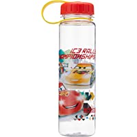 Disney Cars - BPA-free Tritan Bottle with Attached Screw Cap and Anti Splash Guard, 600ml, Red Yellow (Ultimate Speed)