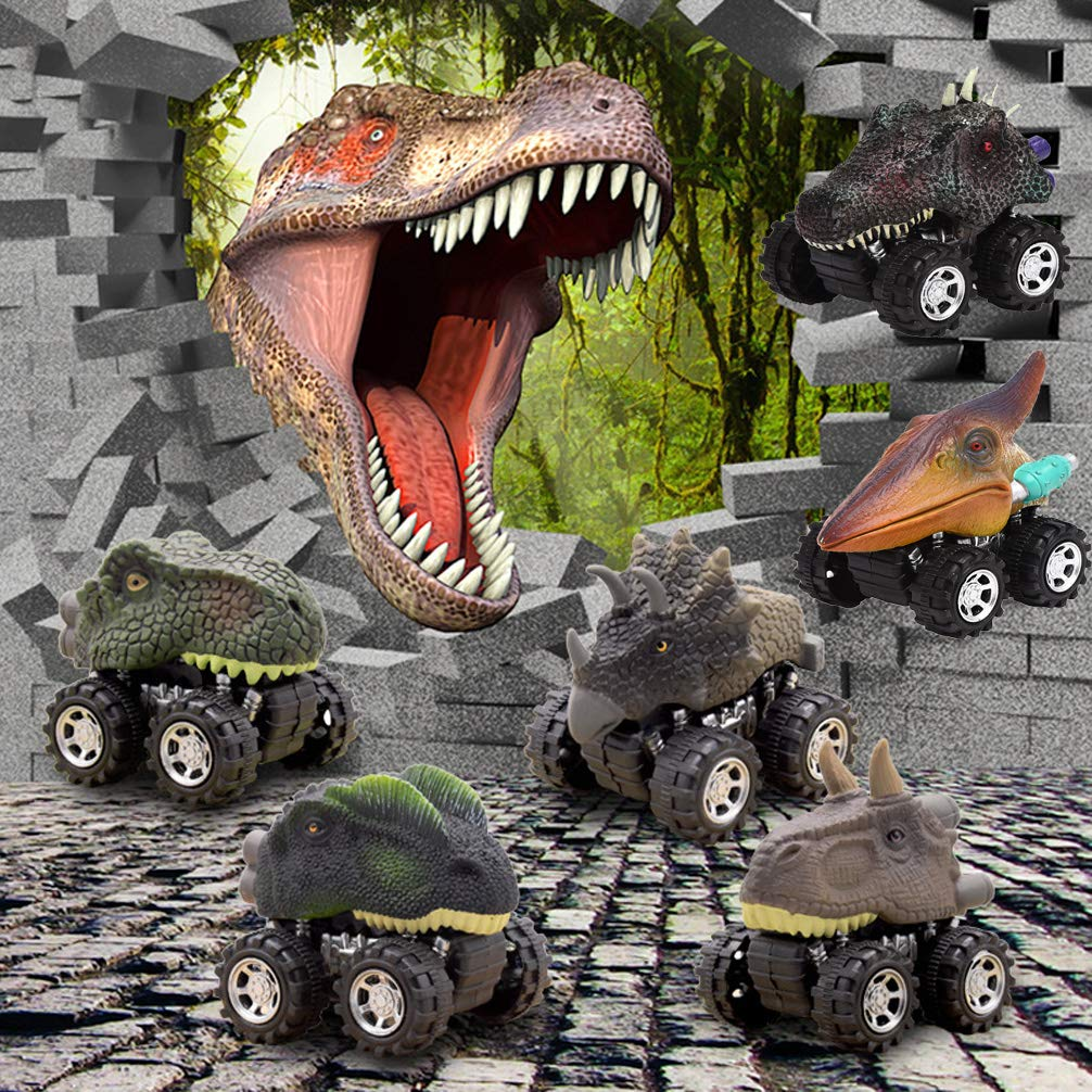 Wenosda 6pcs Friction Cars Dinosaur Inertia Car Push and Go Truck Dino Dragon Vehicle Toy with Tire Wheel for Kids//Children//Child//Toddler 10x12x8cm//3.94x4.7x3.15in, Large Size