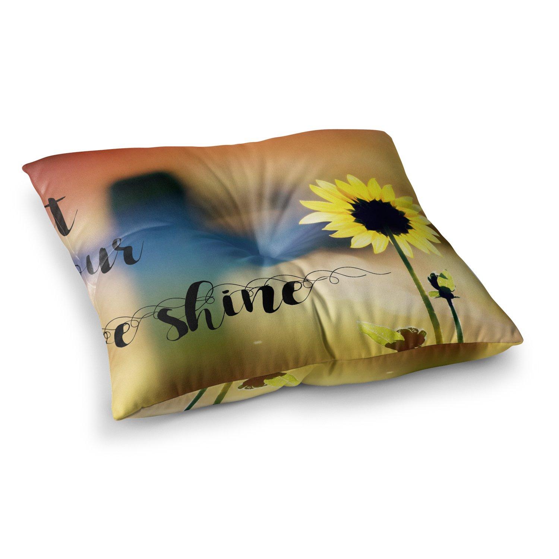 26 x 26 Square Floor Pillow Kess InHouse Nika Martinez Golden Dots in Black Yellow