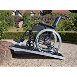 "Clevr 3' (36"" X 31"") Extra Wide Non-Skid Traction Aluminum Wheelchair Scooter Loading Ramp, Lightweight Folding Portable, Holds Up to 600 lbs"