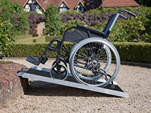 """Clevr Extra Wide (36"""" X 31"""") Non-Skid Aluminum Wheelchair Loading Traction Ramp, Lightweight Folding Portable, Single Fold Wheelchair Scooter Ramp, Extra Wide 31"""", Holds up to 600 lbs, Steel"""