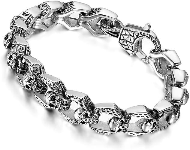 Herren Armband Totenkopf Schädel Skull Biker Gothic Armkette Männer Schmuck