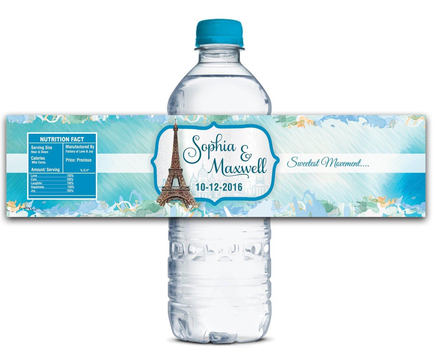 6bc9eeceea Wedding Personalized Water Bottle Labels Waterproof Custom Paris Theme  Stickers 8