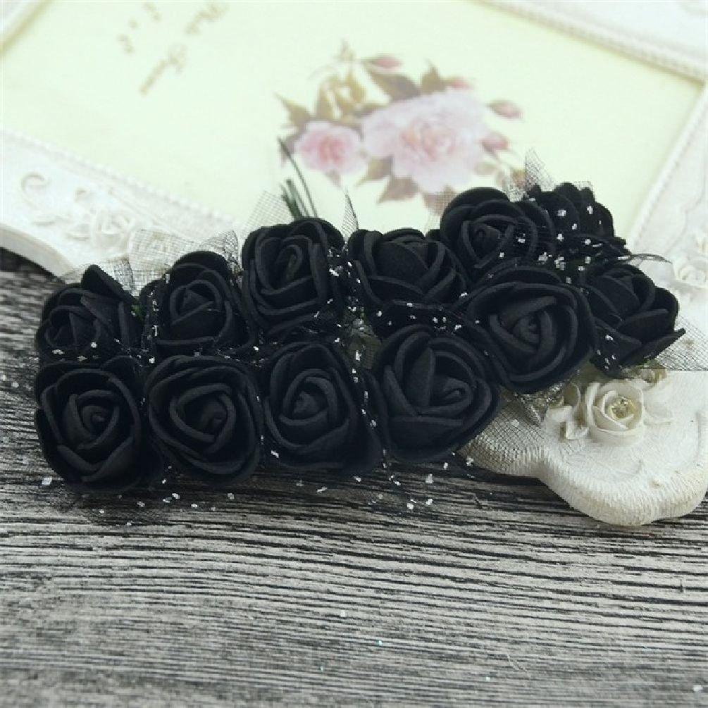 12pcs Mini人工フラワーブーケマルチカラーPE発泡ローズウェディング花装飾スクラップブックFake Flower Wreath Supplies One Size ブラック SEDFGJ32826687404 B078S634NK  ブラック