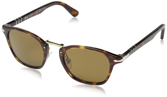 Persol Unisex Sonnenbrille PO3110S, Gr. Medium (Herstellergröße: 51), Mehrfarbig (Gestell: havana, Gläser: braun 24/33)