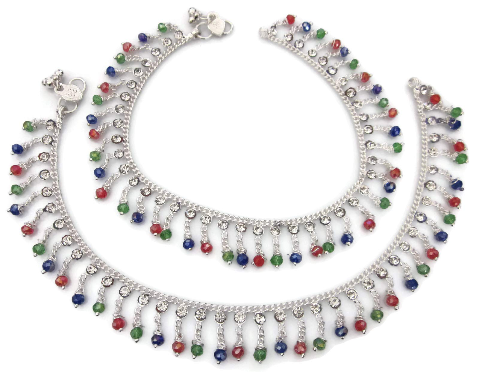 Anklet Pair | Diamante Multi Color Glass Crystals Tassel Charms | Metal Chain Plated Silver | Indian Payal Gypsy Hippie Boho Style Novelty Fashion Jewelry for Women