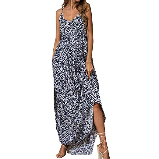 14dafe8e51b21 Image Unavailable. Image not available for. Color: Lefthigh Women's V-neck  Sling Floral Print Maxi Dress Long Skirt Holiday Kaftan Seaside Sundresses