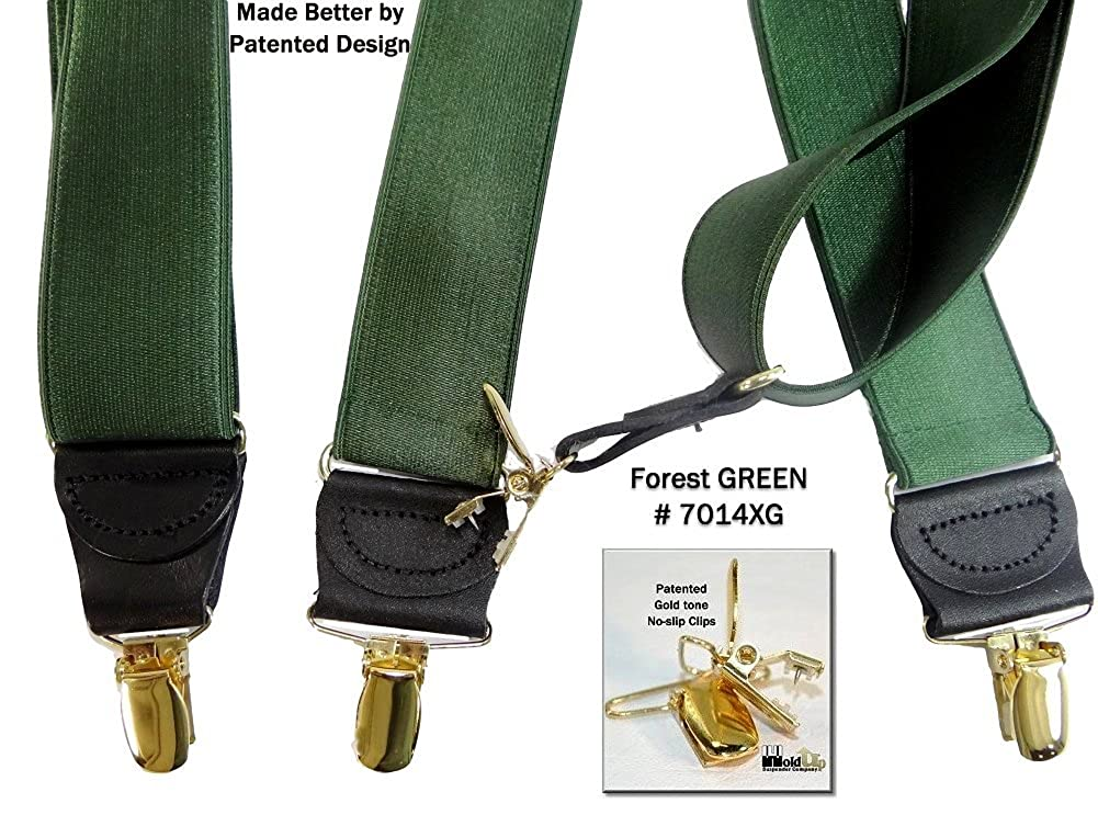 Hold-Ups 1 1//2 Green Satin Finish Suspenders X-back with No-slip Gold Clips