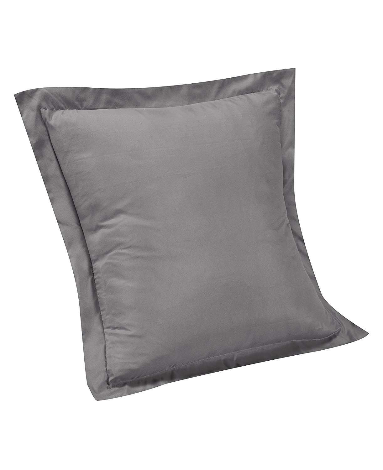 400 Thread Count Single-Ply Soft Egyptian Cotton Solid/Plain European Square Tailored pillow shams Cushion Cover 26 x 26 Inch, {Available in 21 Color } (Dark Grey/Elephant Grey Solid)