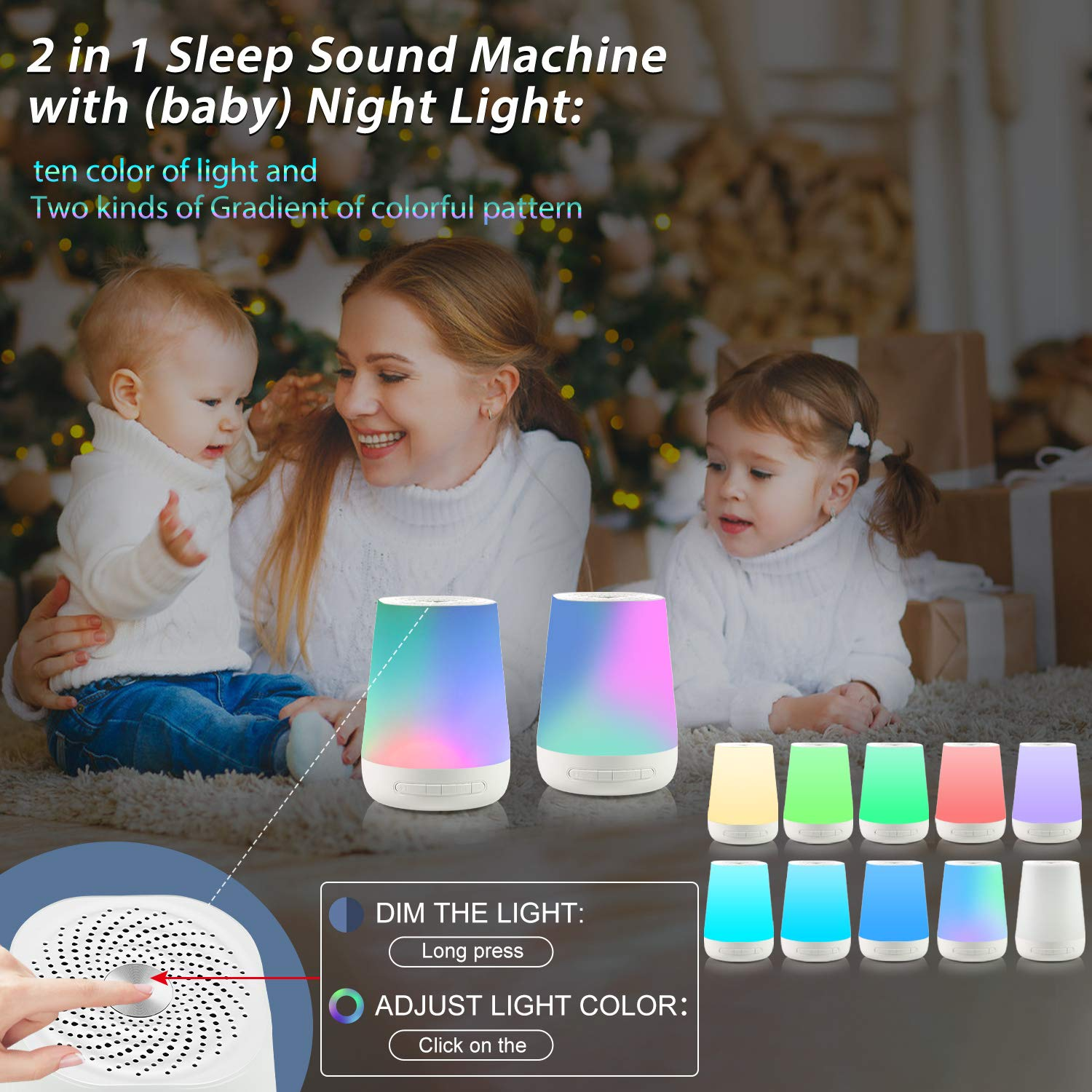 White Noise Machine VanSmaGo Sleep Sound Machine with Baby Night Light+Rechargeable Battery,28 Non-Looping Soothing Sound HiFi Accurate 32 Volume Adjustment,Portable Noise Cancelling Improve Sleeping