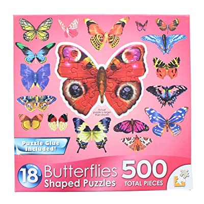 Lafayette Puzzle Factory Butterflies 3 : A Collection of 18 Mini Shaped Puzzles Totaling 500 Color Coded Pieces: Toys & Games