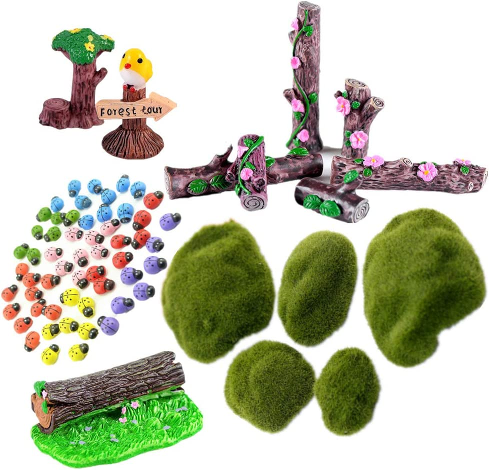Zhiheng 64 Pack Flower Tree Stump Bonsai Figurines Bird Forest Tour Road Signs Wooden Ladybug Stickers Resin Moss Rock Miniatures for Terrariums Ornaments Dollhouse Fairy Garden Accessories
