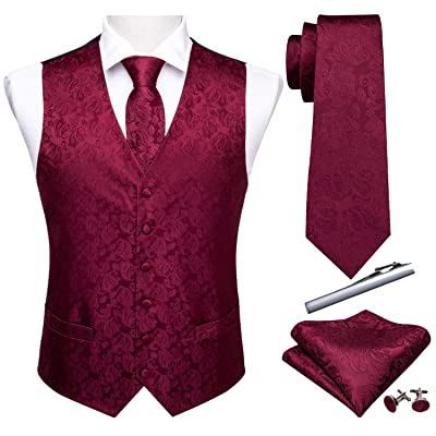 "Barry.Wang Formal Men Dress Vest Matched Paisley Tie Set Suit Waistcoat Wedding 5PCS (Brugundy, S (Chest 41"")) at Amazon Men's Clothing store"