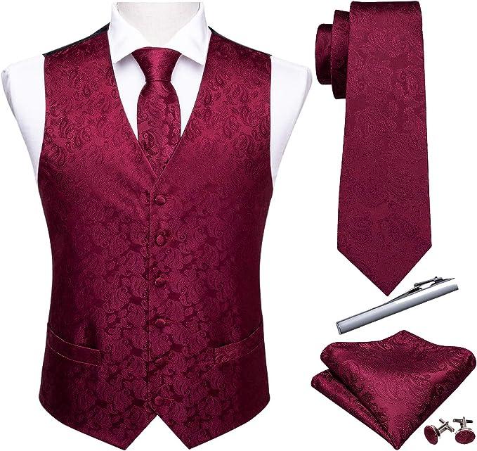 pa/ñuelos s/ólidos talla /única gemelos y corbata para hombre Juego de regalo de corbatas elegantes Rojo Barry.Wang
