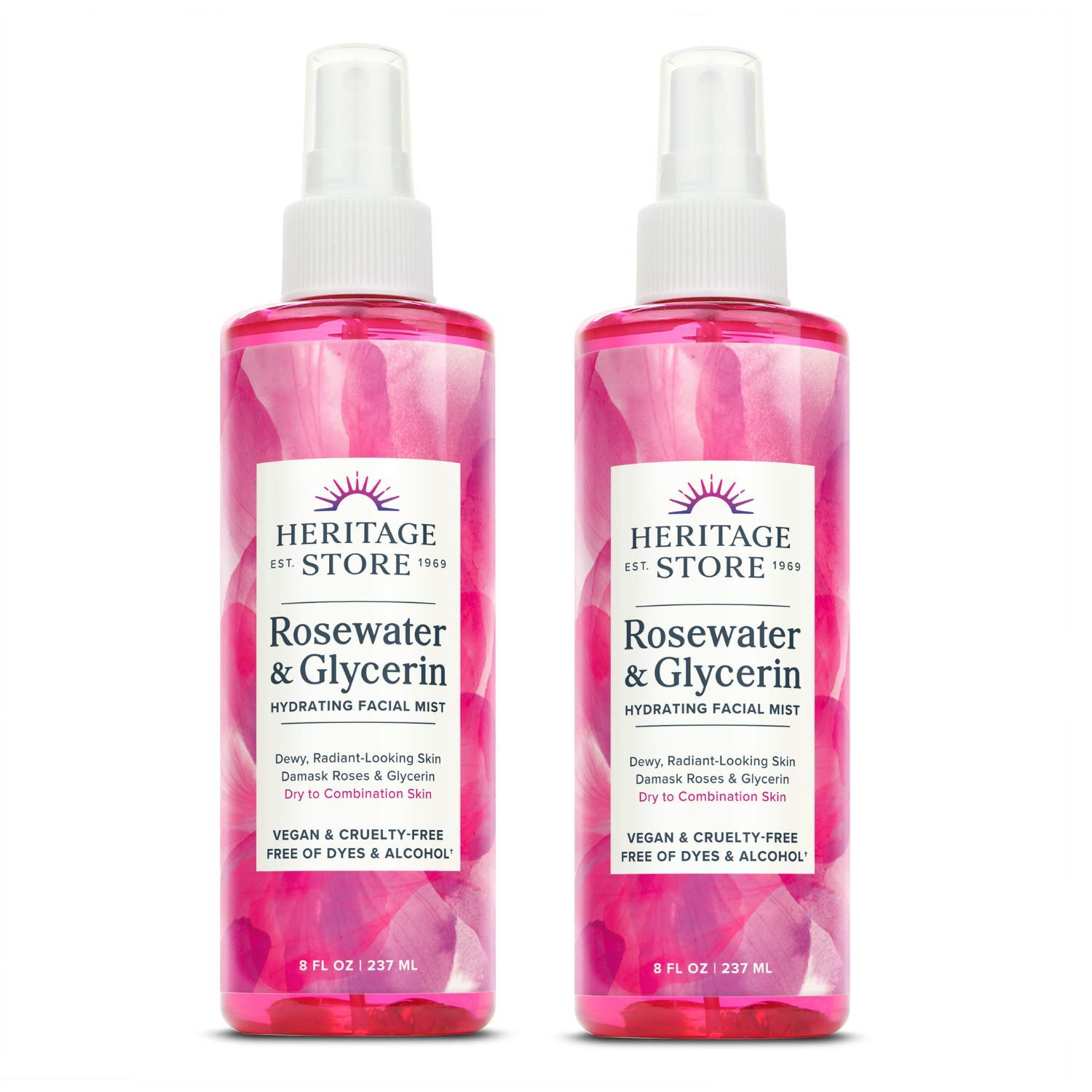 Heritage Store Rosewater with Glycerin | 100% Pure Vegan | Benefits Skin, Hair and More | Facial Toner and Moisturizer | Mist Spray, 8 Fl Oz (Pack of 2)