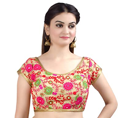 694c3679d1385e Chandrakala Women's Designer Bollywood Readymade Beige Indian Style Saree  Blouse Padded Brocade Choli-X-