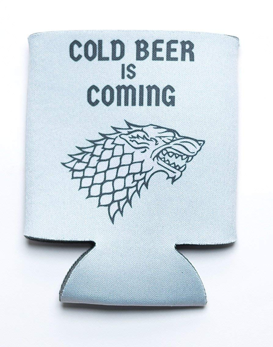 Game of Thrones Inspired Merchandise, Collectible Set of 4 House Sigil Beer Sleeves for Bottle and Cans with Witty Phrases - Packaged in Gift Box