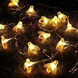 Honeybee Fairy String Lights,ER CHEN(TM) 10Ft 20 LED Honeybee Battery Power Led String Lights for Party,Wedding,Xmas,Decoration,Gardens,Patios,etc.