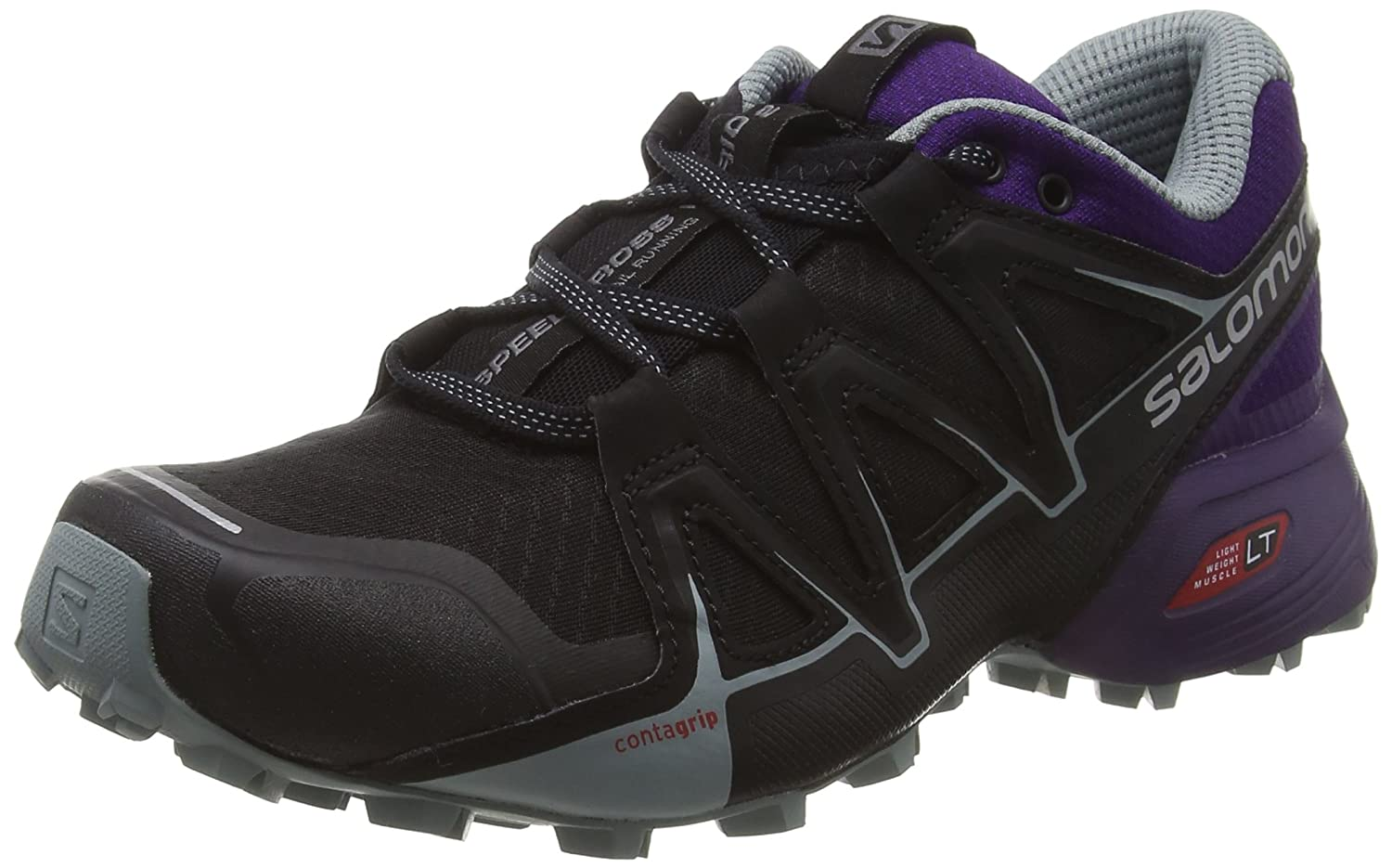 Salomon Speedcross Vario 2, Calzado de Trail Running para Mujer 37 1/3 EU|Negro (Black/Acai/Lead)
