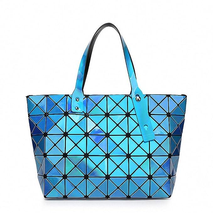 Amazon.com: Mujer Marca bolso holográfica espejo geométrica ...