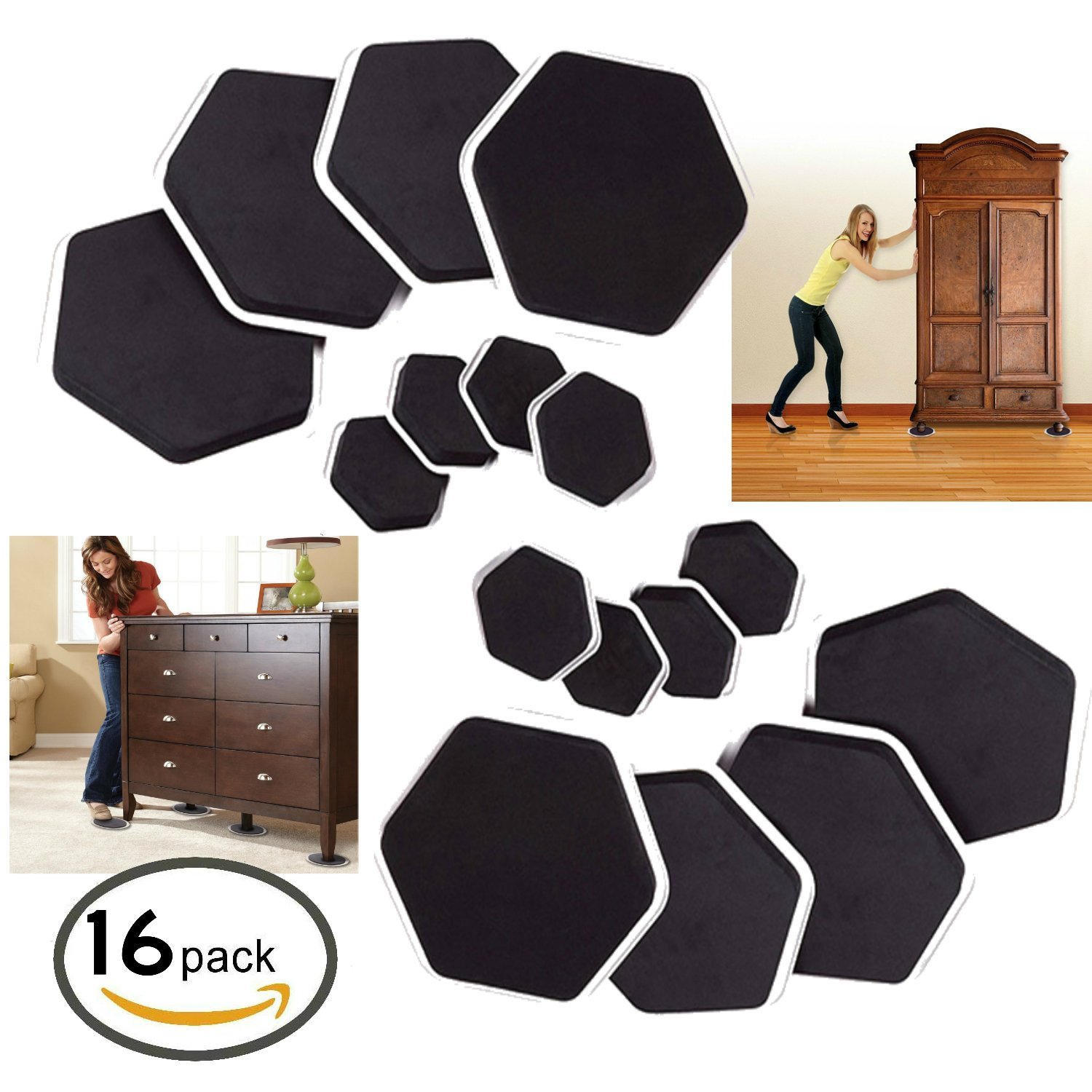 Furniture Moving Sliders and Feet Pads 16 Pc For Moving Furniture
