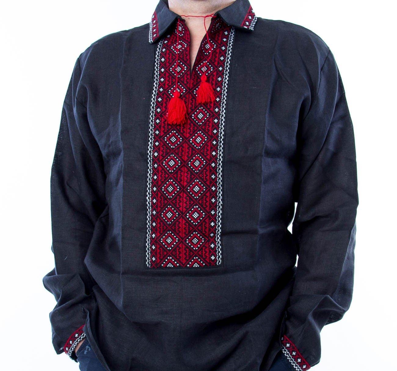 VYSHYVANKA 男性 ブラック レッド ウクライナ 刺繍入りリネンシャツ 3XL 彼へのギフト B07DPLRTPW