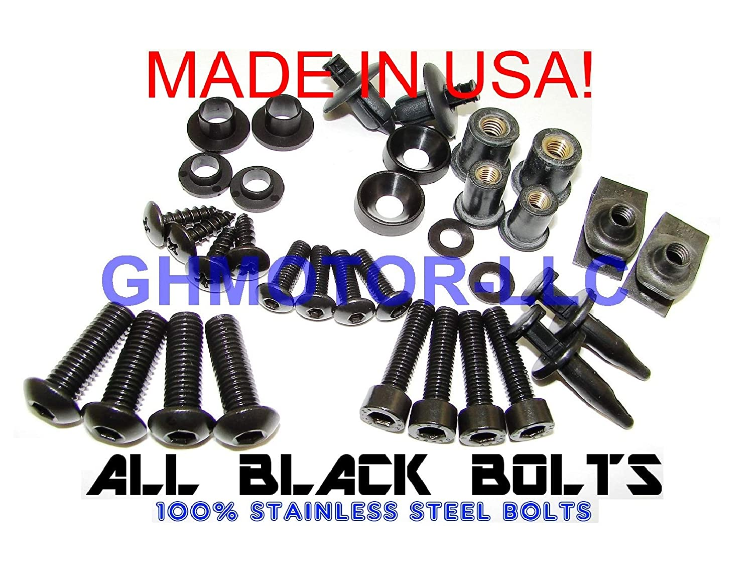 GHMotor Complete Fairings Bolts Screws Fasteners Kit Set Made in USA for 1994 1995 1996 1997 KAWASAKI ZX9R ZX-9R Black