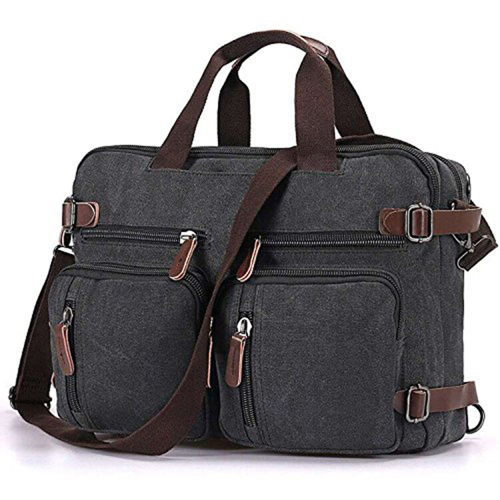 Convertible Laptop Backpack Vintage Messenger Bag Shoulder Bag Canvas Handbag Computer Bag Business Briefcase Multi-Functional Cross Body Bag Fits 17.3 inch Laptop for Men/Women (15.6, Black)