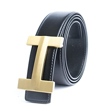 4d431740625 HuoGuo NEW Solid Brass Luxury Blue H Brand Designer Belts Men Male Business  Genuine Real Leather
