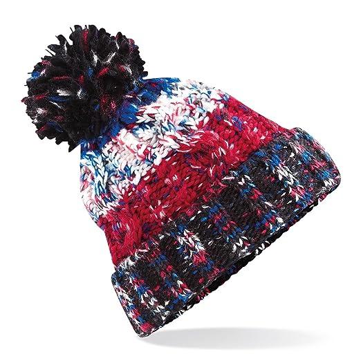 74aa2f50463e66 Beechfield Unisex Adults Corkscrew Knitted Pom Pom Beanie Hat (One Size) ( Black Jacks