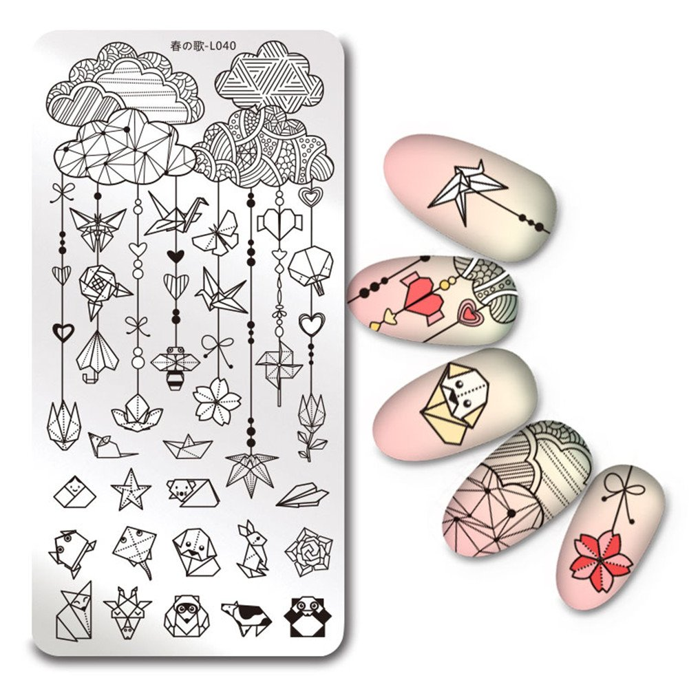 Born Pretty 1Pc Rectangle Stamping Plate Space Star Moon Manicure Nail Art Plate Harunouta L039