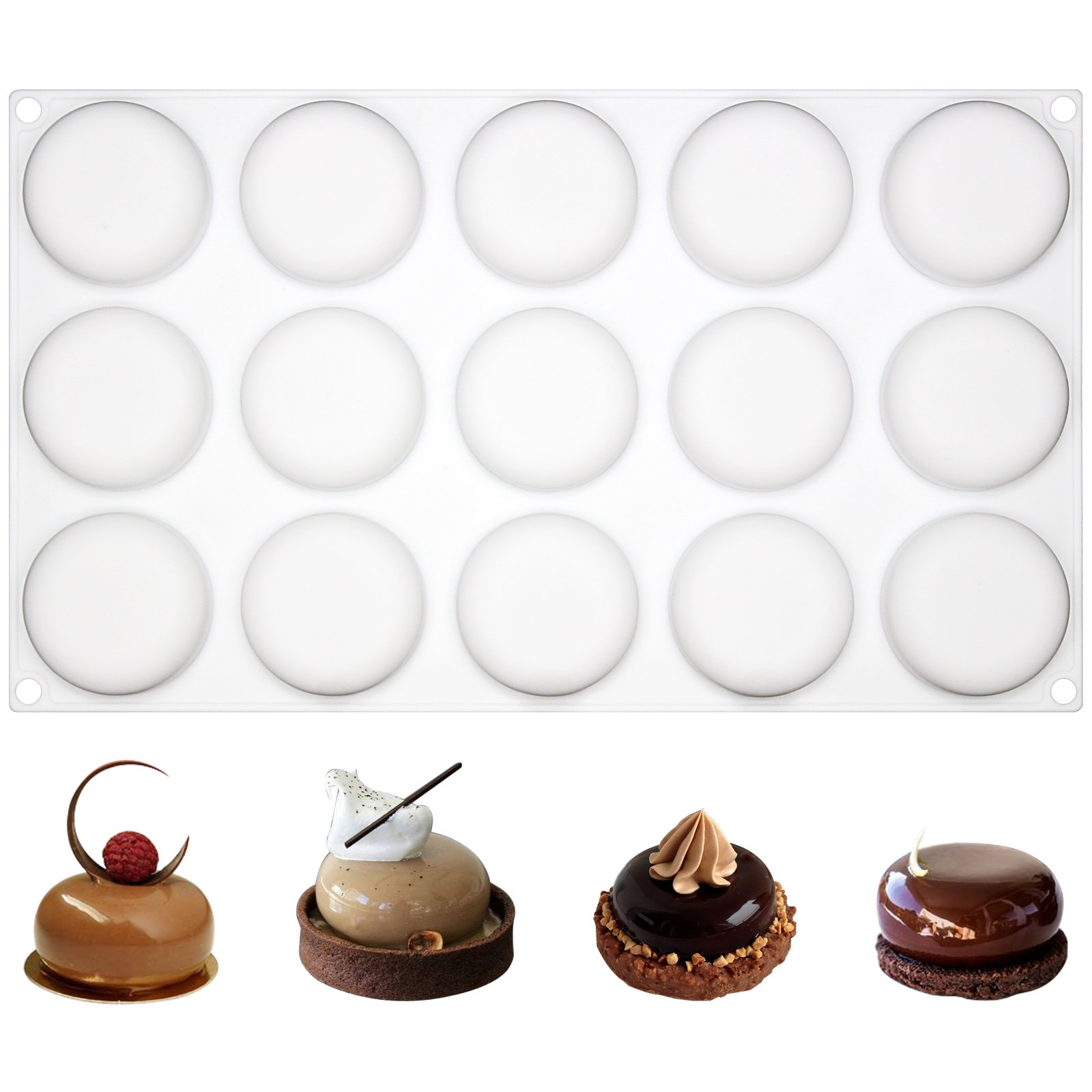 Funshowcase 15 Cavities Curved Round Stone Silicone Mold Tray per Cavity 1.8x1.8x0.7inch