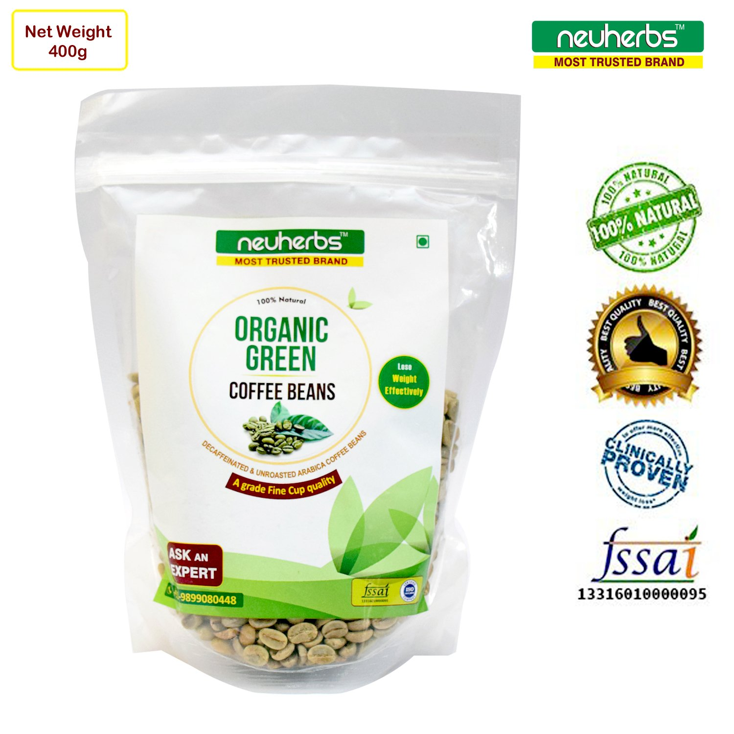 Neuherbs 100% Natural Organic Green Coffee Beans ( Decaffeinated & Unroasted Arabica Coffee ) - 400g