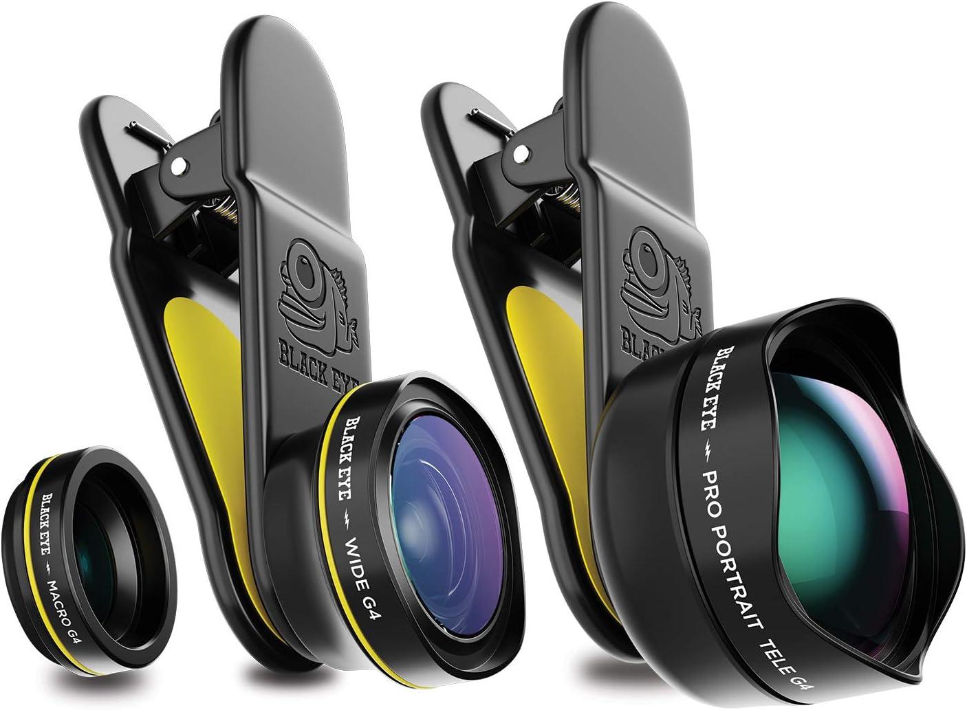 Black Eye Travel Kit G4 con Pro Portrait Tele G4, Macro G4 y Wide G4 (Incluye bolsa de viaje, Fijación universal de clip, Wide Angle de 160°, 15x Macro y 2.5x Tele Lens) - G4TK001