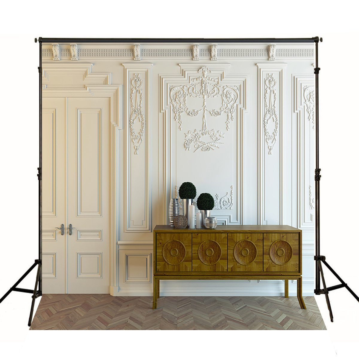 8 x 8 Pureホワイトダマスク壁写真背景背景幕のウェディング写真ブース小道具カスタム写真 B06XCTS5T1