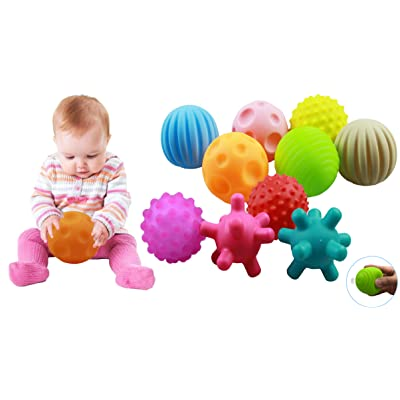 DikDok 10 Pack Sensory Balls for Babies Kids, 6 to 12 Months Baby Toy Ball Toddlers and Infant Small Massage Soft Textured Multi Ball Set: Toys & Games
