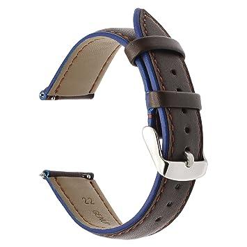 Para Samsung Gear S3 banda de reloj, TRUMiRR 22mm doble color de cuero genuino banda