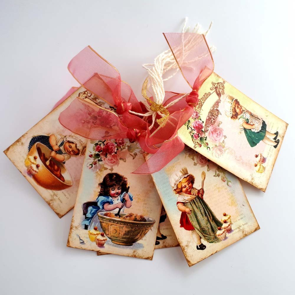 Girl Pastry Baker Chef Gift Tags - Vintage Kitchen Baking Cupcakes Favor Tags - Set of 8