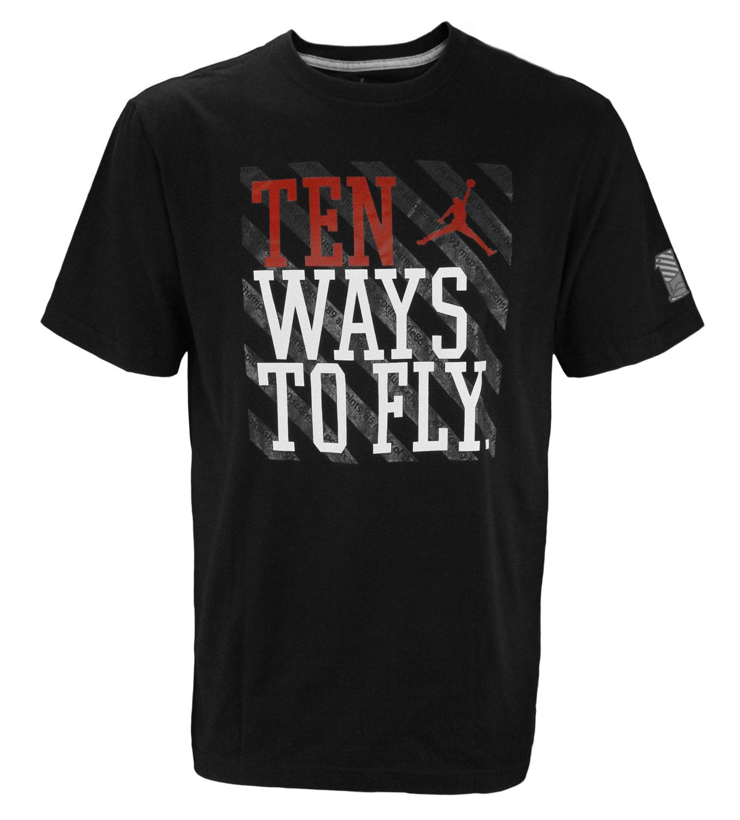 Mens Air Jordan Ten Ways To Fly T-Shirt, Black by Jordan