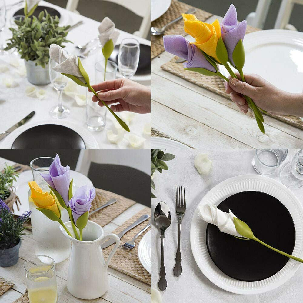 Unique Store 8Pcs Creative Bloom Napkin Holders Flowers Floral Green Design for Table Decoration Home Party Napkin Rings